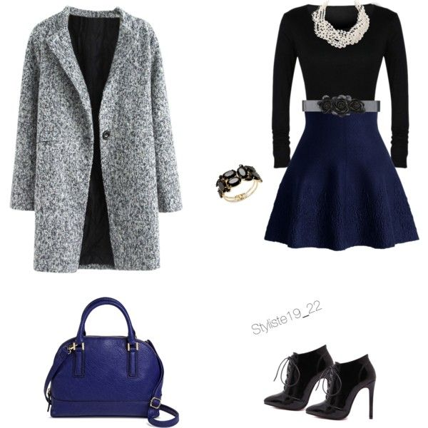 Grey and navy by nadine-schokobon-bala on Polyvore featuring polyvore, fashion, style, Chicwish, Merona, Humble Chic, Thalia Sodi and Bebe