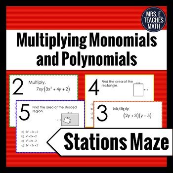 Students will multiply monomial and binomial expressions. Two of the problems ask students to find the area of a figure using an algebraic expression. There are 10 stations. This activity can be completed individually or in pairs. A student answer