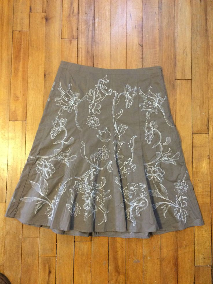 ANN TAYLOR Skirt Petites Beige Taupe White Embroidery Size 00P | eBay