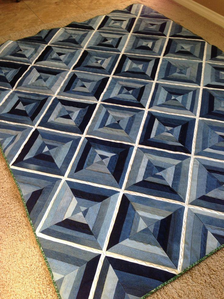 denim quilt idea with sashing in black?