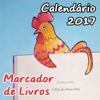 Marcador de livros com Calendário 2017. Para imprimir, recortar e colorir