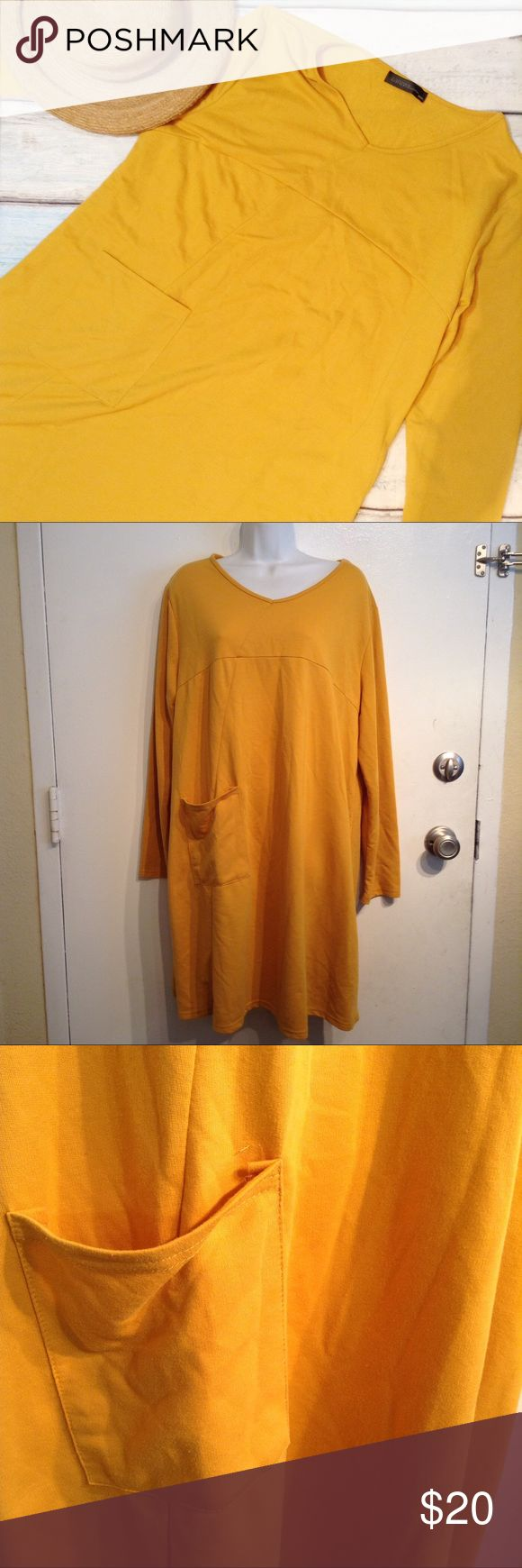 "Plus Size Mustard Yellow Long Sleeve Tunic Dress Plus size mustard yellow v-neck long sleeve dress with pocket. Would be perfect with leggings and boots during the autumn! Size XXXL. Measures 24"" flat from armpit to armpit and 38"" long. Slight stretch. No modeling. Smoke free home. I do discount bundles. Zanzea Collection Dresses Long Sleeve"