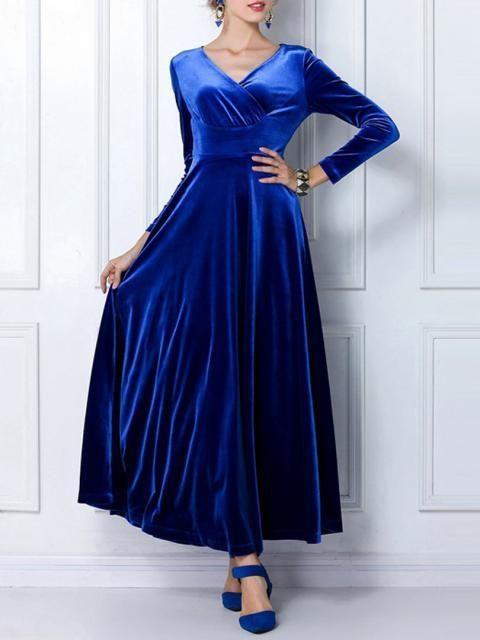 Choies Blue Pleuche V-neck Maxi Dress on shopstyle.com.au