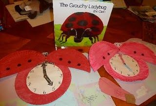 Learning to Tell Time with The Very Grouchy Ladybug    This is great for students learning to tell time. This is fun for students because there making a connection to the book. This is good for teachers because you can use them in whole group instruction. The purpose of this pin is to teach student how to tell time