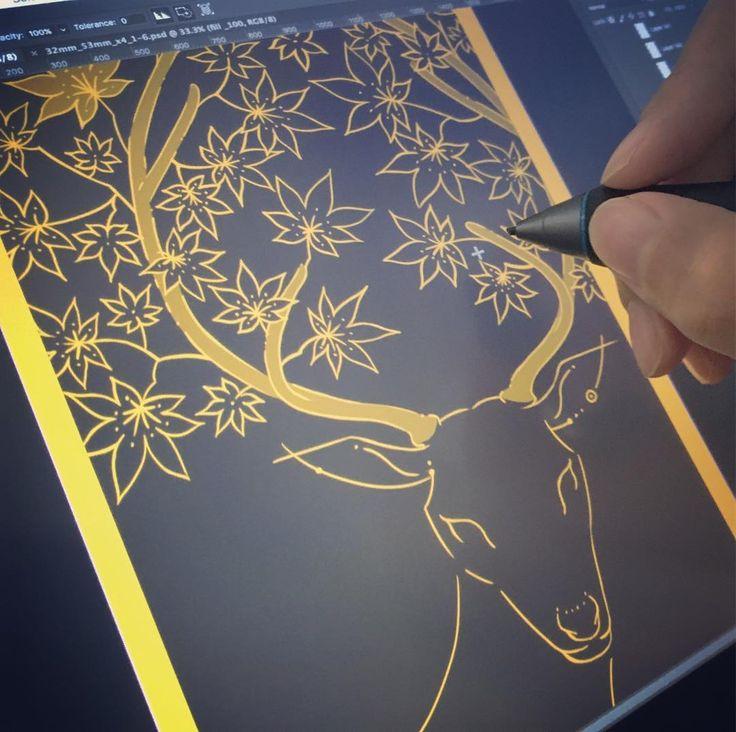花札を地味に描き続けるエブリデイ全体進行 7.5枚/48枚役札から始めているので最初の12枚が終われば考える必要がなくってスルスル進むハズ(希望) φ(ー )  #wip #花札 #deer #maple #art_akiaoki