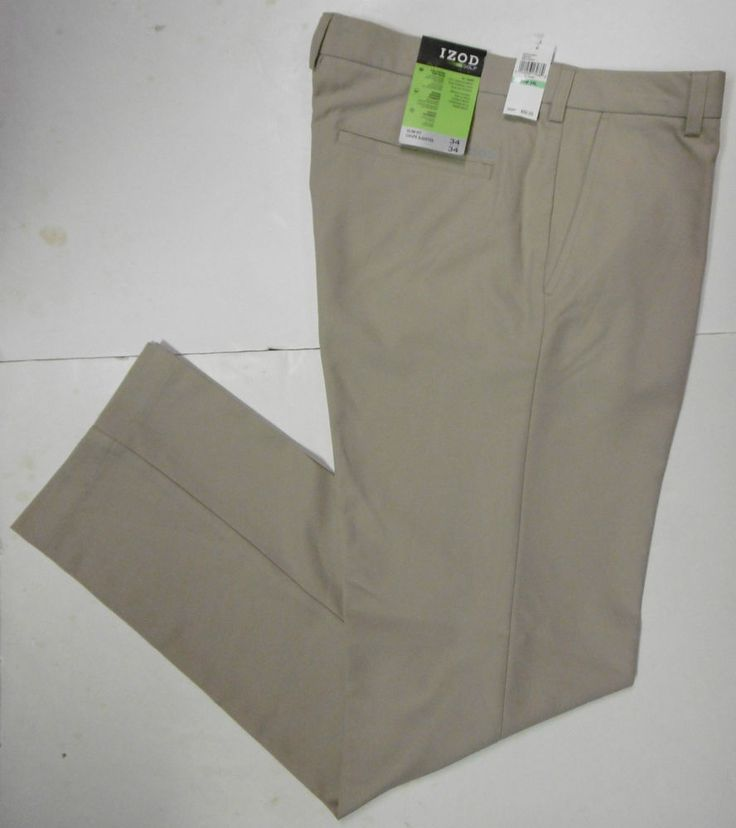 "IZOD GOLF BASIX R.KHAKI GOLF PANTS SLACKS MEN'S 34""x34"" PERFORMANCE-STRETCH B7 #IZODGOLF #GOLFBASIXPERFORMANCEGOLFSLACKS"