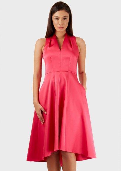 Pink High Collar V Neck Hi-Low Dress