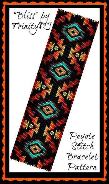 BP-PEY-089 - 2015-149 - Bliss - Peyote Stitch Beadwork PATTERN, beadweaving tutorial, beaded bracelet, bracelet pattern, jewelry                                                                                                                                                     More