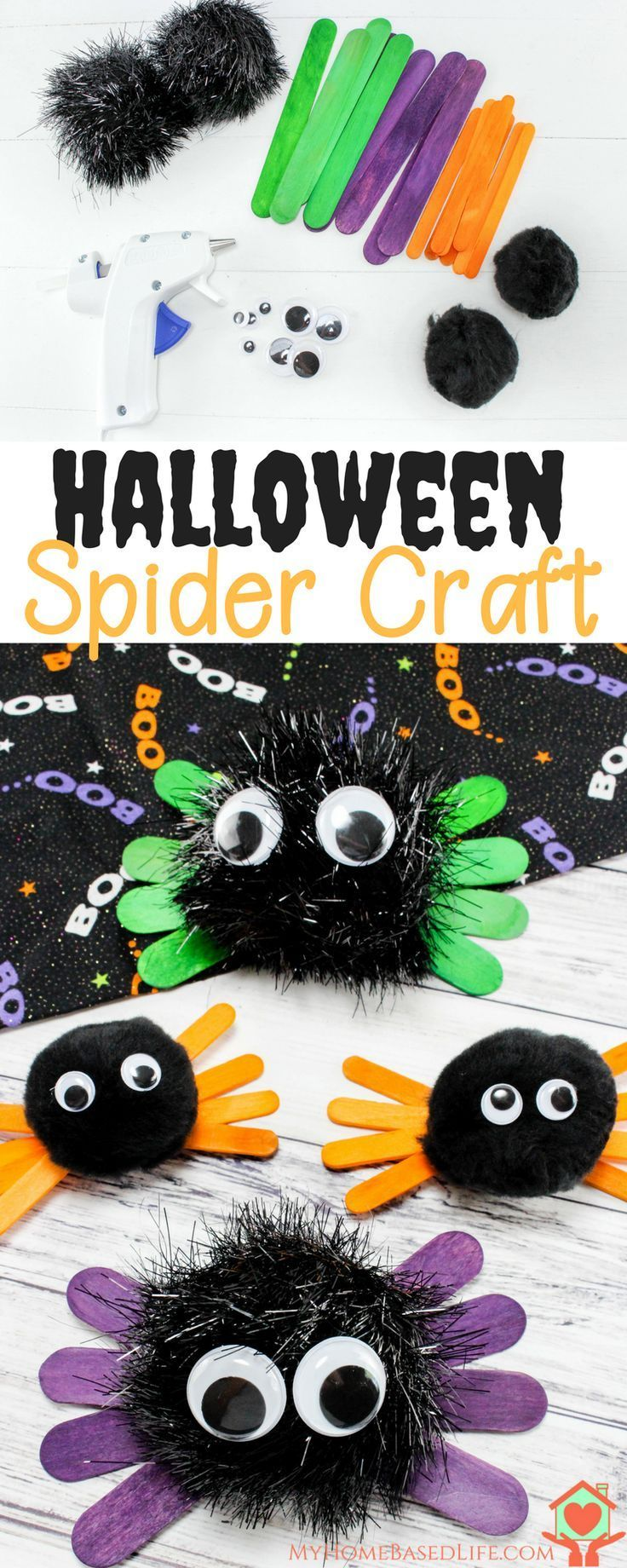 Very easy and quick Halloween Craft for kids. Halloween Spider Kids Craft. #hall…
