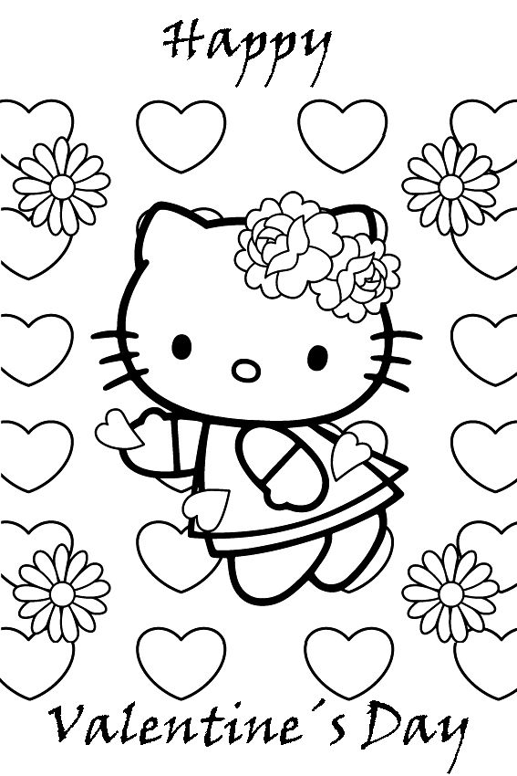 valentines day hello kitty coloring page with many hearts and flowers free printable hello kitty coloring pages