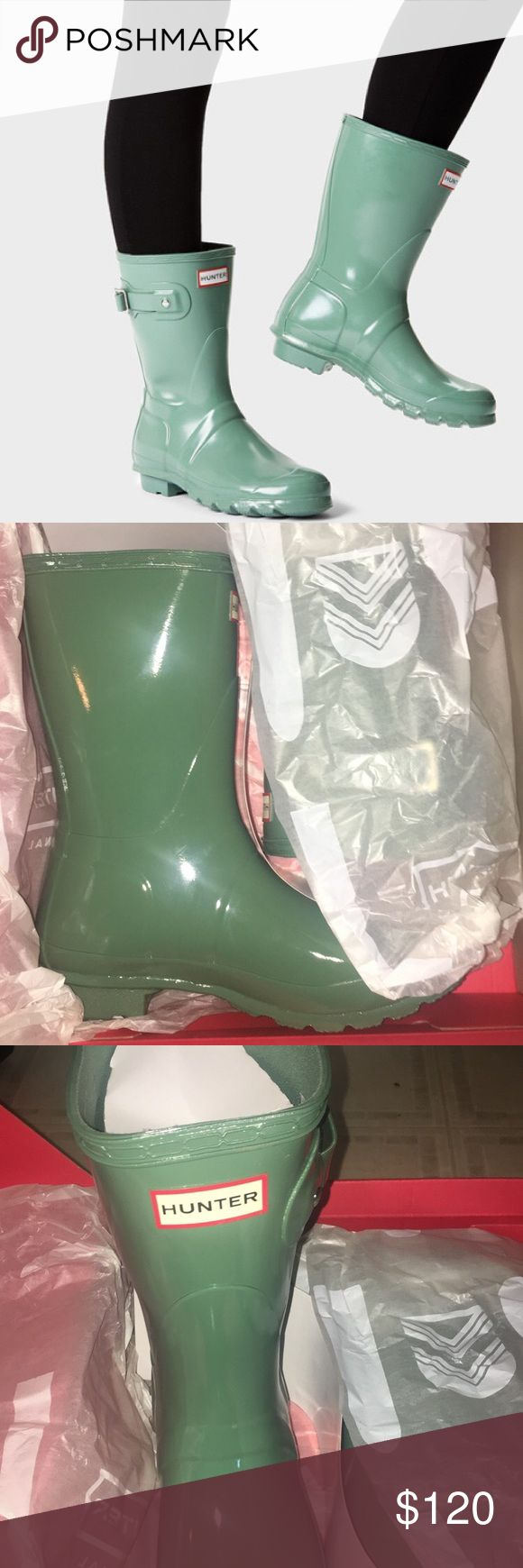 Short hunters boots New in box succulent green hunter boots. Size 7, euro size 38. I'm a 7.5 and I always wear a 7 in hunters Hunter Shoes Winter & Rain Boots