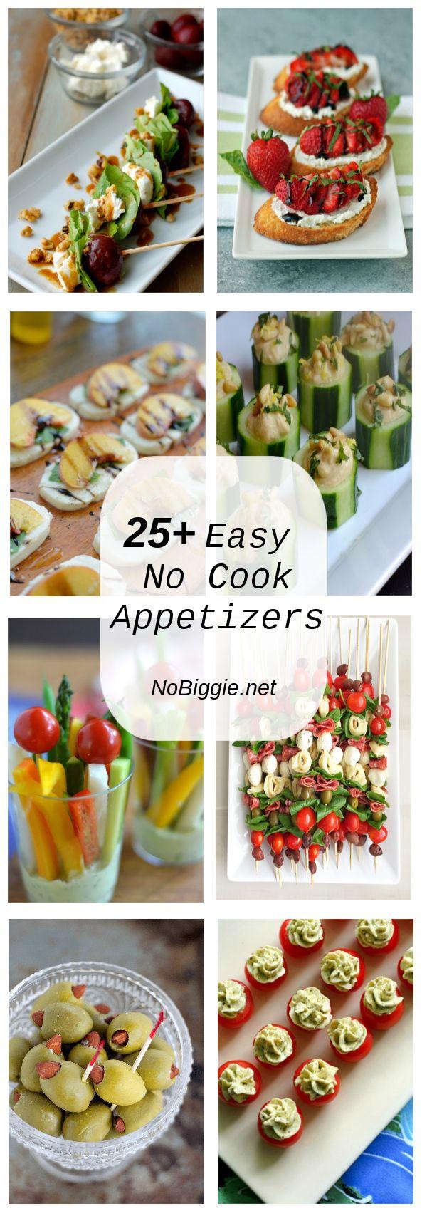 25+ Easy No Cook Appetizers | NoBiggie.net via @nobiggie