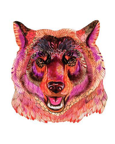 "ola's bear  by Ola Liola  Art Print / MEDIUM (Gallery) (17"" x 20"")    $26.00"
