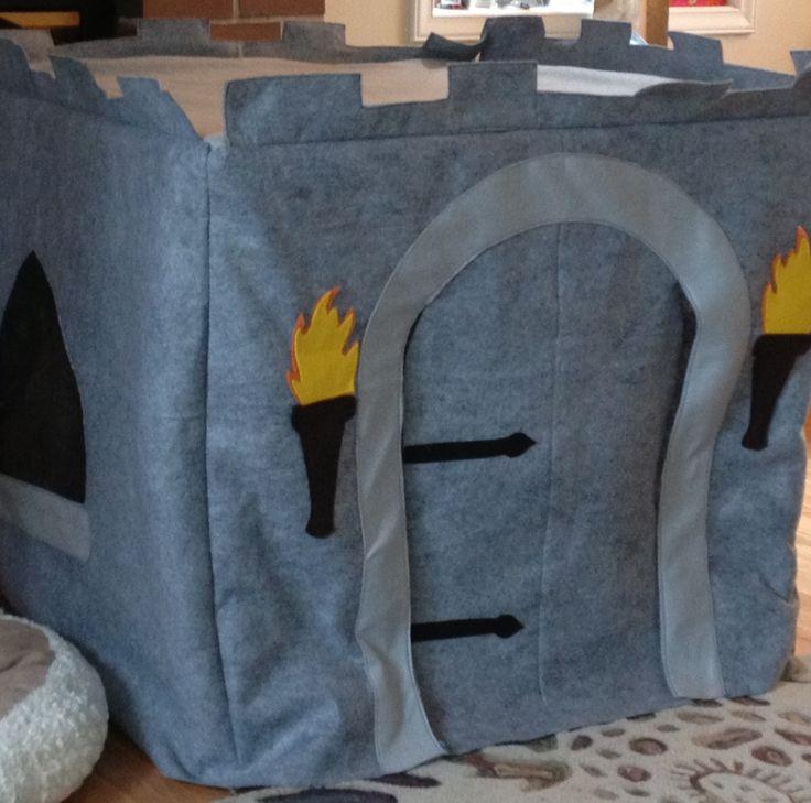 Card table playhouse.  Felt and vinyl.  Castle.