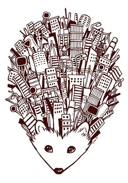 Urban Hedgehog Art Print