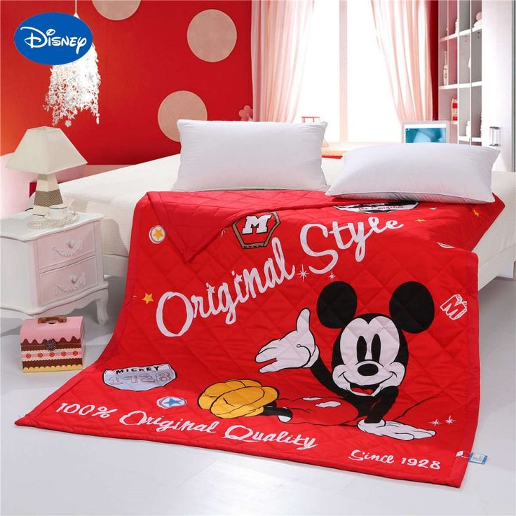Disney Cartoon 3D Mickey Mouse Printed Quilts Comforters Bedding Cotton Shell 150*200cm Size Summer Girls Baby Bedroom Decor Red