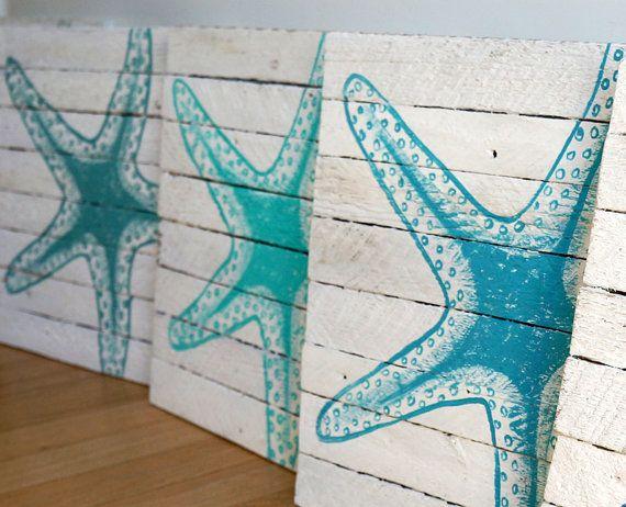 Estrella de mar pintado 12 x 12 por SaltyArtStudio en Etsy