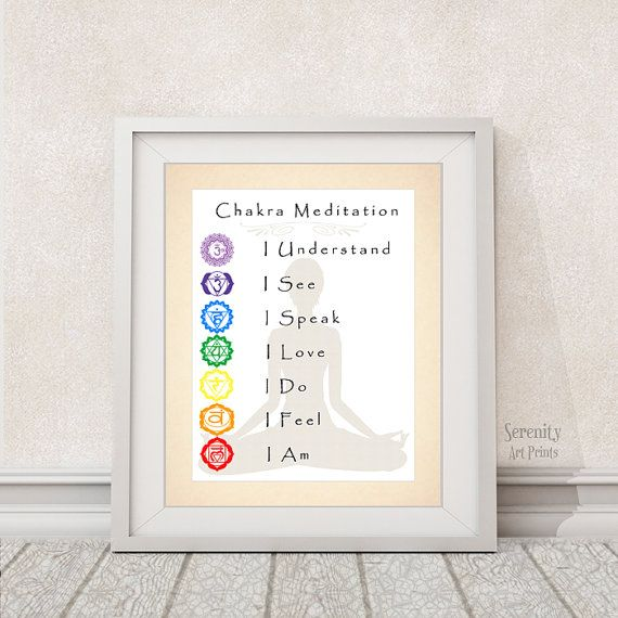 Chakra Meditation Art Print - 8x10 - Yoga Studio Art - Meditation Room - Item #540