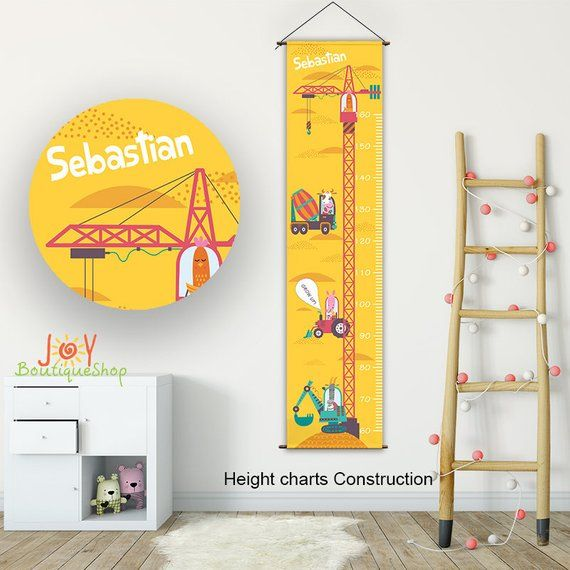 Growth Chart Construction Personalized Growth Chart Kids Etsy Personalized Growth Chart Growth Chart Kids Growth Chart