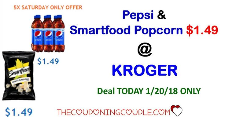 Pepsi and Smartfood popcorn ONLY $1.49 TODAY ONLY @ Kroger!! Clip your coupons NOW and head to the store before it closes tonight.  Click the link below to get all of the details ► http://www.thecouponingcouple.com/pepsi-and-smartfood-popcorn-only-1-49/ #Coupons #Couponing #CouponCommunity  Visit us at http://www.thecouponingcouple.com for more great posts!
