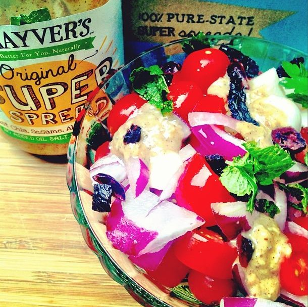 This deliciously healthy Super Salad featuring our Original pure-state Super Spread (which is made from just chia, sesame, almonds, cashews, peanuts, brazil nuts and hazelnuts that have been crushed, blended and bottled) is so easy to make AND a great source of protein (approx. 20g per serve). Get the recipe at http://bit.ly/1g5HHlT #superspread #purestate #healthyeats #cleaneating #vegetarian #fitfood #foodforabs