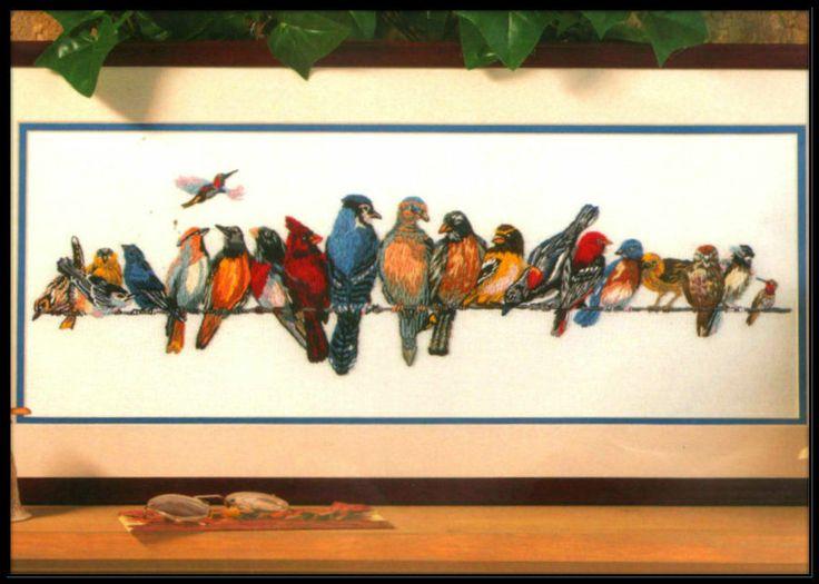"VINTAGE BUCILLA BIRDS ON A WIRE ""CHORUS LINE"" CREWEL EMBROIDERY KIT"