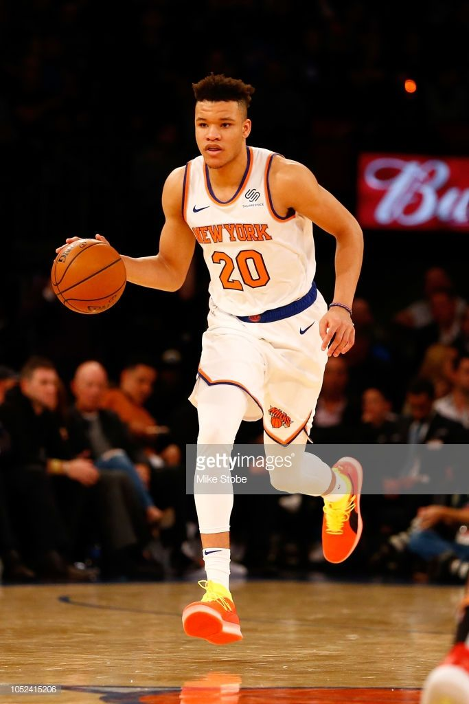 58a3c726a36 Kevin Knox of the New York Knicks carries the ball against the ...