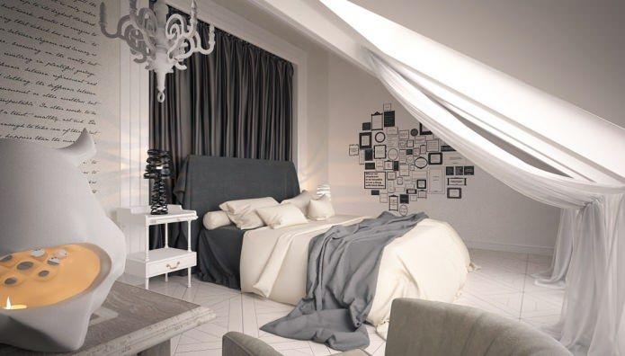 интерьер спальни на мансарде с односкатной кровлей