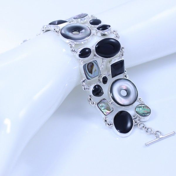 Sterling silver bracelet with onyx, abalone & mother-of-pearl - Stylish Jewellery