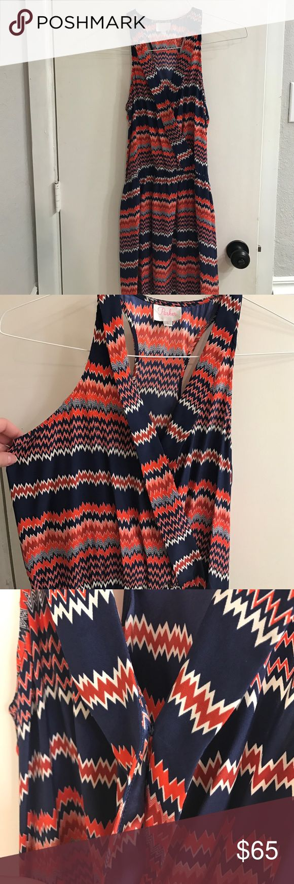 Silky chevron dress Silky navy and orange chevron dress Parker Dresses