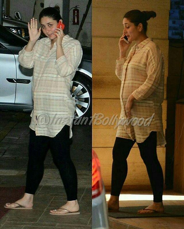 Pregnant Kareena Kapoor Khan snapped earlier today leaving her mom Babita's house. @Bollywood ❤❤❤