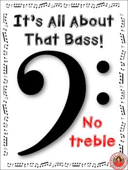 """All About That Bass This is a free download for you to use with your music classes when introducing the bass clef! I created this resource to use with the YouTube clip: All About That Bass (Clef) The video is an educational parody of Meghan Trainor's music """"All About That Bass"""" that teaches the notes of the bass clef. All About That Bass"""