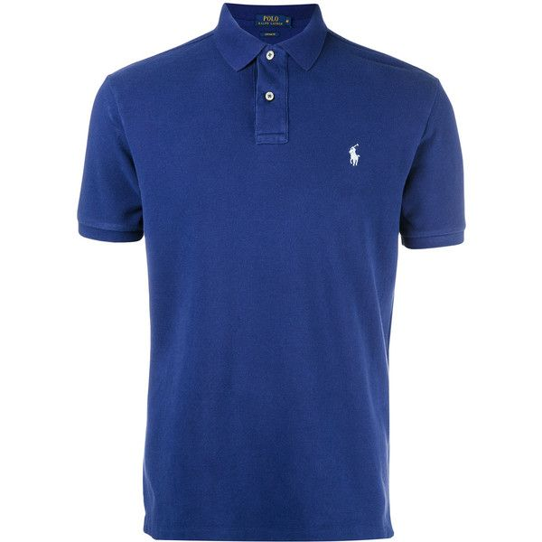 Polo Ralph Lauren logo embroidered polo shirt ($84) ❤ liked on Polyvore featuring men's fashion, men's clothing, men's shirts, men's polos, blue, mens blue shirt, mens polo shirts, mens blue polo shirts and polo ralph lauren mens shirts