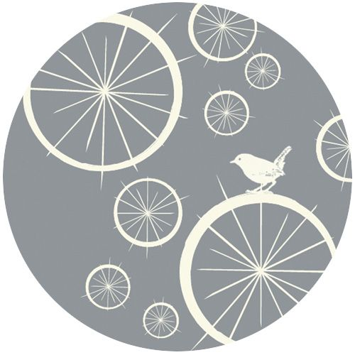 Jay-Cyn Designs for Birch Fabrics Organic Avalon Birdie Spokes Concrete