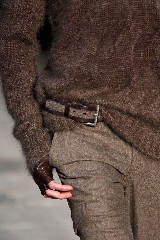 equestrian x brown : knit sweater, cargo trousers, patent leather sniper glove. #ZenniOptical