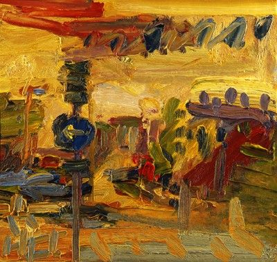 Frank Auerbach - The Awning III 2008, 2008 oil on board 46 x 47.9 cm.(18 1/8 x 18 7/8 in.)