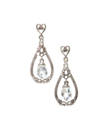 Love this Crystal & Silvertone Drop Earrings on #zulily! #zulilyfinds