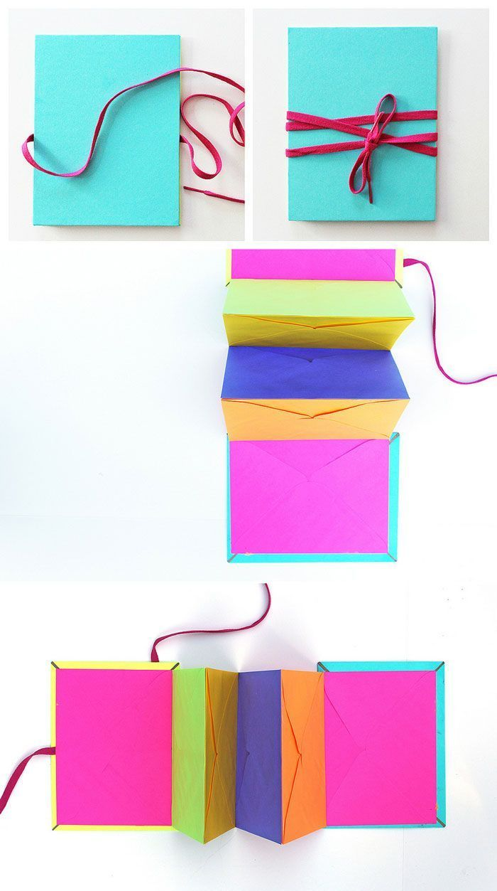 Make an accordion style book out of envelopes.