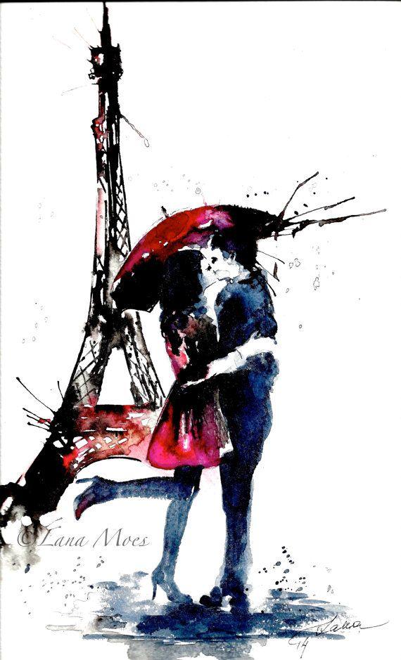 Original Watercolor Illustration - Watercolor Painting Titled: Paris Love