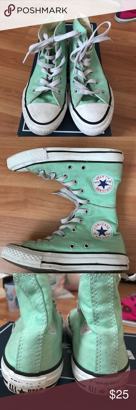 Girls Tiffany blue converse high tops Used girls all star converse high top sneakers in Tiffany blue (turquoise) size 13 Converse Shoes Sneakers