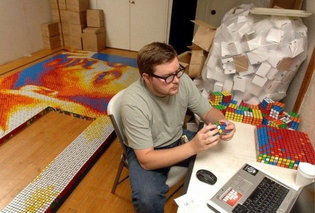 """""""Dream Big"""" was a year-long project in which Pete created a mosaic of Dr. Martin Luther King Jr. using 4,242 Rubik's Cubes"""
