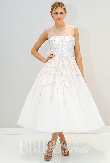 A modern, ethereal tea-length wedding dress by @randirahm | Brides.com