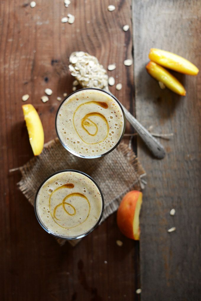 Peach Oat Smoothie by minimalistbaker.com: Made with peaches, chia seeds, oats, banana, orange juice and almond milk