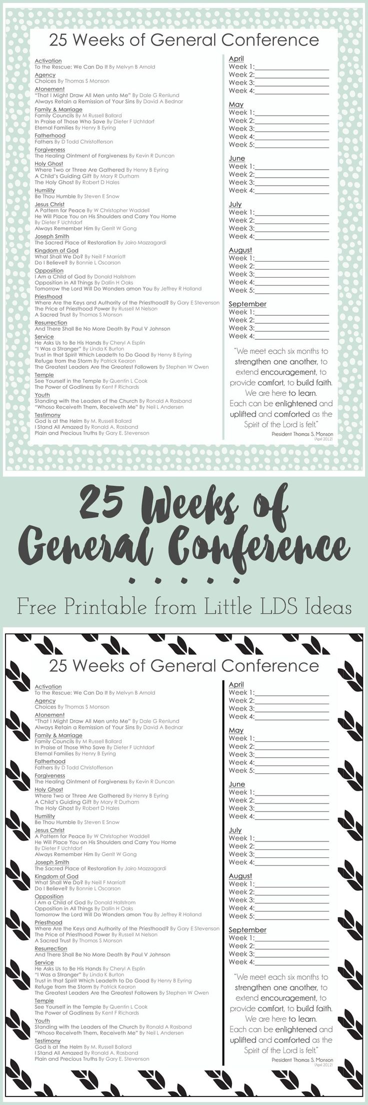 This FREE printable will help you study those amazing April 2016 General Conference talks. Stop by Little LDS Ideas to print yours out!
