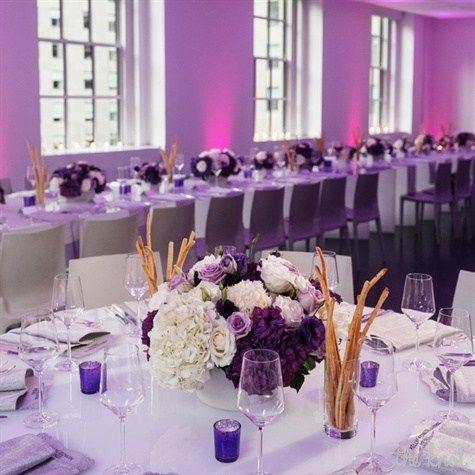 Purple and White Wedding Reception Decor