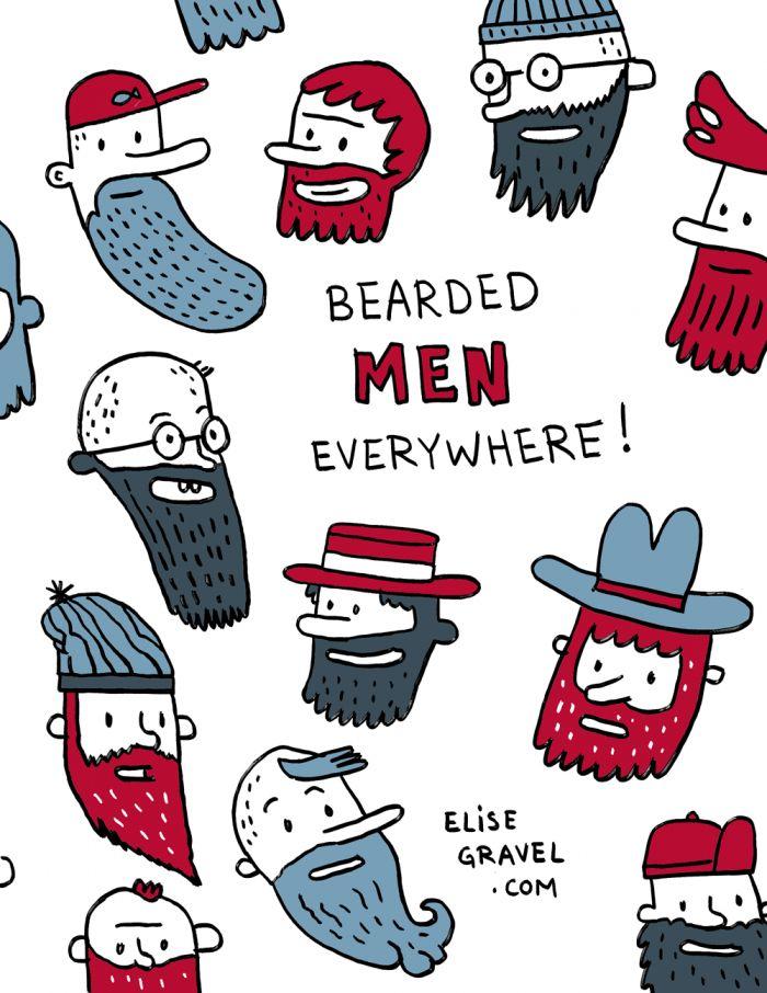 Elise Gravel illustration • Beards everywhere!