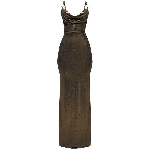 Bronze Metallic Ring Detail Cowl Maxi Dress (€12) ❤ liked on Polyvore featuring dresses, bronze metallic dress, cowl dress, bronze dress, brown maxi dress and metallic dress