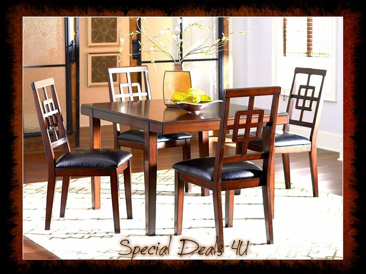 Dining Room Set Table Chairs Modern Kitchen Wood 5 Piece Dinette Brown Home NEW #ContemporaryClassic
