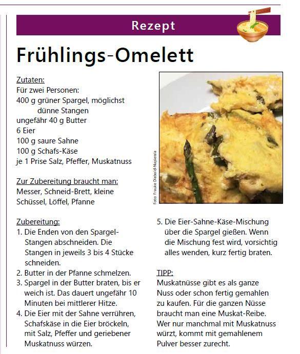 Fruhlings Omelett Rezeptvorschlag Aus Klar Deutlich Der Zeitung In Einfacher Sprache Gleich Ausprobieren Rezepte Lebensmittel Essen Zubereitung Rezepte