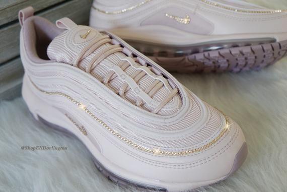 Swarovski Crystals Custom Nike Air Max 97 Desert Dust Sneakers Embellished with Rose Gold Swarovski Crystals
